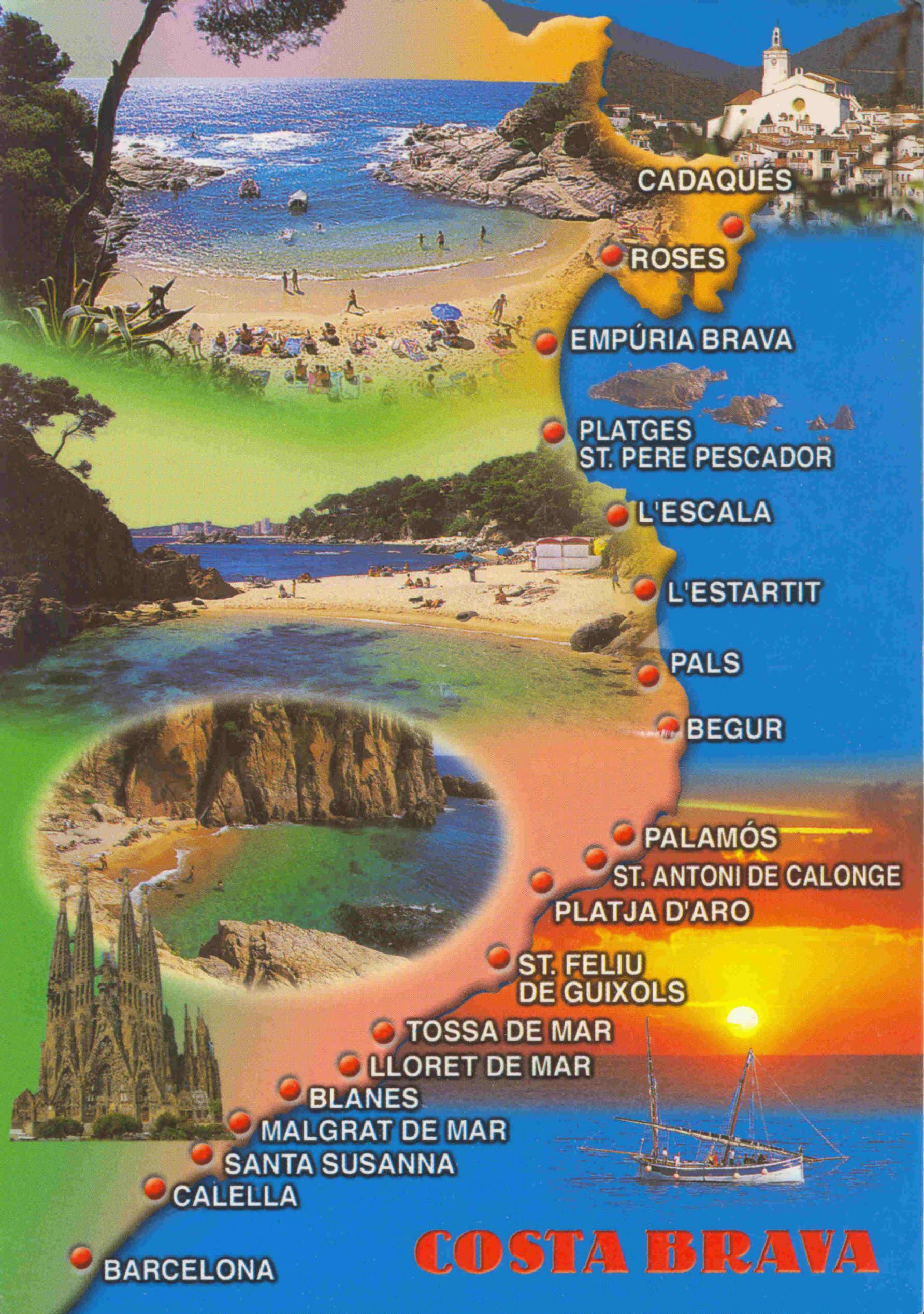 Carte de la Costa Brava plan des 24 lieux à voir